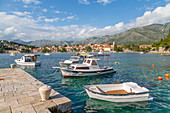 View of town and harbour in Cavtat on the Adriatic Sea, Cavtat, Dubrovnik Riviera, Croatia, Europe