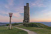 The Victoria Tower (Jubilee Tower) at sunset, Castle Hill near Almondbury, Huddersfield, West Yorkshire, Yorkshire, England, United Kingdom, Europe