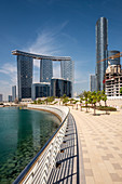 Residential apartment blocks of Arc Tower, Gate Towers and Sky Tower on Al Seem Island, Abu Dhabi, United Arab Emirates, Middle East