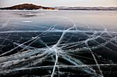 Lake Baikal in winter ice, Siberia, Russia, Europe