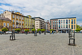 Heroes Square in the former historical Jewish ghetto in Podgorze, Krakow, Poland, Europe