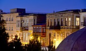 In the evening renovated houses in the old town of Baku, Caspian Sea, Azerbaijan, Asia