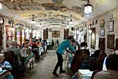 Guests with a service in the restaurant Firuza, Baku, Caspian Sea, Azerbaijan, Asia