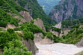 Landscape with river in Ismailli State Reserve, Azerbaijan, Asia