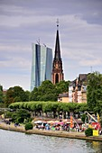 View over the river Main to the skyscraper of the European Central Bank and Sachsenhausen, Frankfurt am Main, Hesse, Germany
