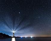 Leuchtturm von Dugi Otok bei Nacht, Kroatien