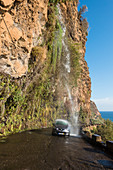 Waterfall on a small road on the south coast of Madeira, Portugal