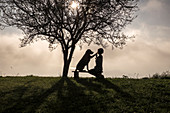 Dog and woman sit on a bench and make high five under a tree silhouette in the morning mood at train. Switzerland