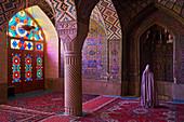 Woman praying, Nasir al Molk Mosque, Shiraz, Fars Province, Iran, Middle East