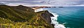 Te Werahi Beach at sunrise, with Te Paki Coastal Track path visible, Cape Reinga, North Island, New Zealand, Pacific