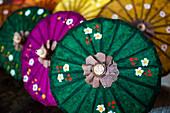 Traditional decorated sun umbrellas at Inle Lake, Shan State, Myanmar (Burma), Asia
