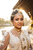 Portrait of Bride, Seema Malakaya Temple, Colombo, Western Province, Sri Lanka, Asia