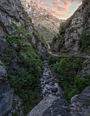 Majestic natural scenery of Cares river gorge, Picos de Europe, Cain, Leon Province, Spain