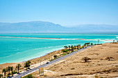 Aerial view of Dead Sea, Ein Bokek, Southern District, Israel