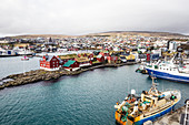 Torshavn waterfront, biggest town and capital of Faroe Islands, most people live from fishing here, Faroe Islands, Denmark