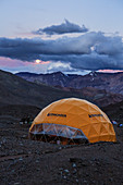 Plaza de Argentina Base Camp tent on Aconcagua, one of the Seven Summits and the tallest peak outside the Himalaya, Mendoza, Argentina