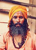 Indian monk portrait, Varanasi, India
