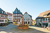 Historic half-timbered buildings on Marktplatz market square, Heppenheim, Baden-Wurttemberg, Germany