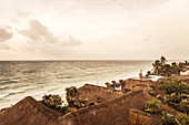 Rooftops and shoreline at Tulum, Mexico