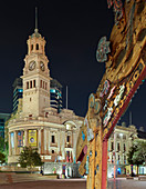 Maori artwork, City Hall, Aotea Square, Auckland, North Island, New Zealand, Oceania