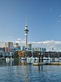 Winyard Crossing, Viaduct Bassin, Sky Tower, Auckland, Nordinsel, Neuseeland, Ozeanien