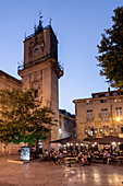 Place de L'Hotel de Ville, street cafes in the evening, Aix en Provence, France