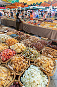 Place Richelme, weekly market, market stall with nuts and dried fruits, Aix en Provence, France