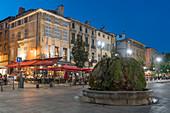 Fountain at Cours Mirabeau at the blue hour, Aix-en-Provence, Bouches-du-Rhône, Provence-Alpes-Cote d'Azur, France
