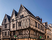 Tudor-style half-timbered houses in the old town of Dijon, Côte-d'Or, Bourgogne Franche-Comté (Burgundy), France, Europe