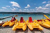 Boats at Lac de Sainte-Croix near Les Salles-sur-Verdon, Department Var, France