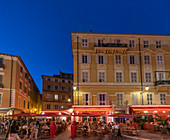 Street cafes and restaurants in the evening, Cours de Saleya, Nice, Cote d Azur, France