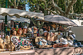 Market stall with hats in Saint Tropez, Var, France