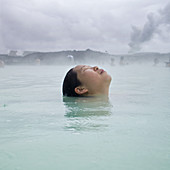 Mid-Adult Woman at Geothermal Spa, Close-up of Face, near Grindavik, Reykjanes Peninsula, Iceland