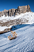 Mountain formation in the Dolomites in the snowy landscape in winter. Transition to springtime, Cortina d'Ampezzo, Belluna, Italy