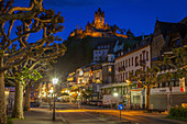Street below Cochem Imperial Castle at sunset in Cochem, Germany