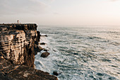 Building on cliff by sea in Peniche, Portugal