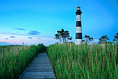 Bodi Island Lighthouse at sunset in North Carolina, USA