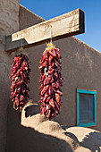 ed Chili Peppers Hanging Outdoors,Taos, New Mexico, USA