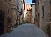 Medieval Street and Clock Tower, Tuscany, Italy