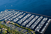 Aerial View of Yachts in a Marina, Seattle, Washington, USA