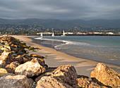 Rocky Beach and Boats on Water, Santa Barbara, California, USA