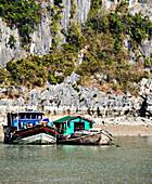 Fischerboote am Ufer, Halong Bay, Quang Ninh, Vietnam
