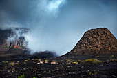 Cape Verde, Island Fogo, NationalPark Fogo, Village Cha,landscape, Active Vulcano, Lavafields, coffee, wineyards, wine,farmers, working the land, planting wine ranks, landscape