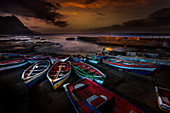 Cape Verde, Island Santo Antao,, fishingboats, harbour, twilight, fishing