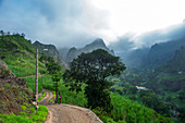 Cape Verde, Island Santo Antao, landscapes, mountains, green valley, hiking