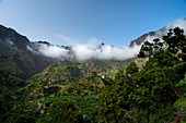 Cape Verde, Island Santo Antao, landscapes, mountains, green valley, traditional houses