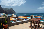 Cape Verde, Island Santo Antao, landscapes, mountains, coastline, rooftop terrace\n\n\n