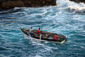 Cape Verde, Island Santo Antao, fishermen, fishingboat,ocean