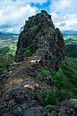 Cape Verde, Island Santiago, rain season, mountains, goats on cliff