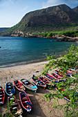 Cape Verde, Island Santiago, beach, boats, colorful
